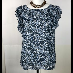 H&M Blouse Top Floral Pull Over Blue White Size 8